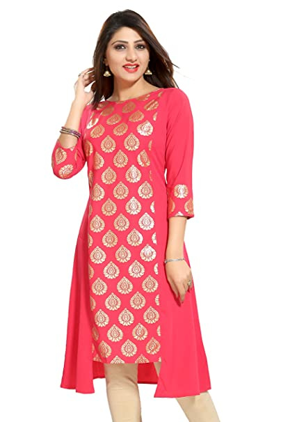 ALC Creations Women's Faux Crepe Straight Kurti Kurtas at amazon