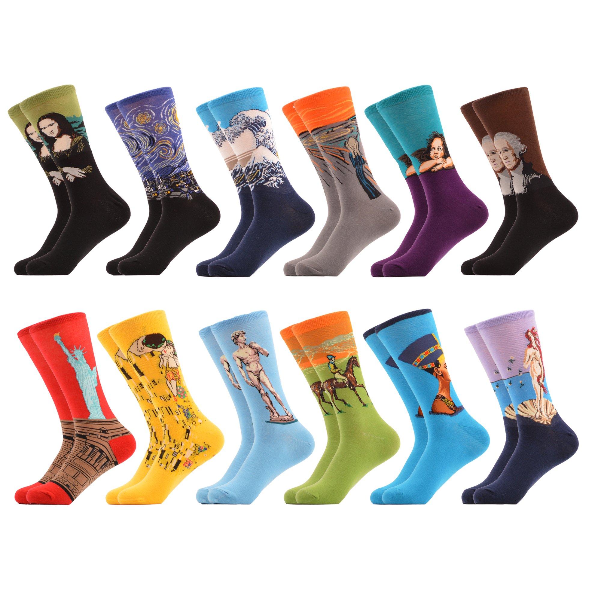 WeciBor Men's Art Van Gogh Dress Renaissance Multicolor Colorful Funny Cotton Crew Socks Wholesale 12 Packs