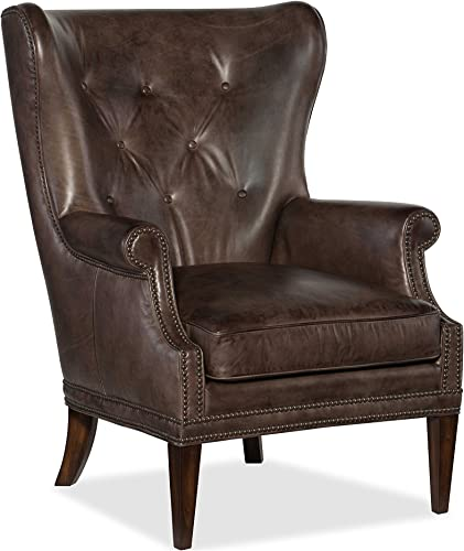 Hooker Furniture Maya Leather Wing Club Chair in Checkmate Trade