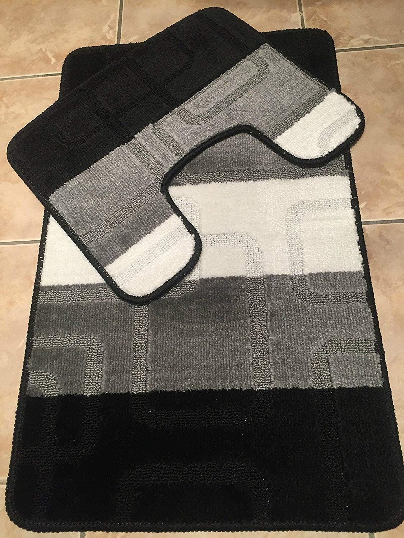Machine Washable 11 Piece Bath Mat & Toilet Pedestal Set Non Slip (Stripe  Black/Grey/White Square)
