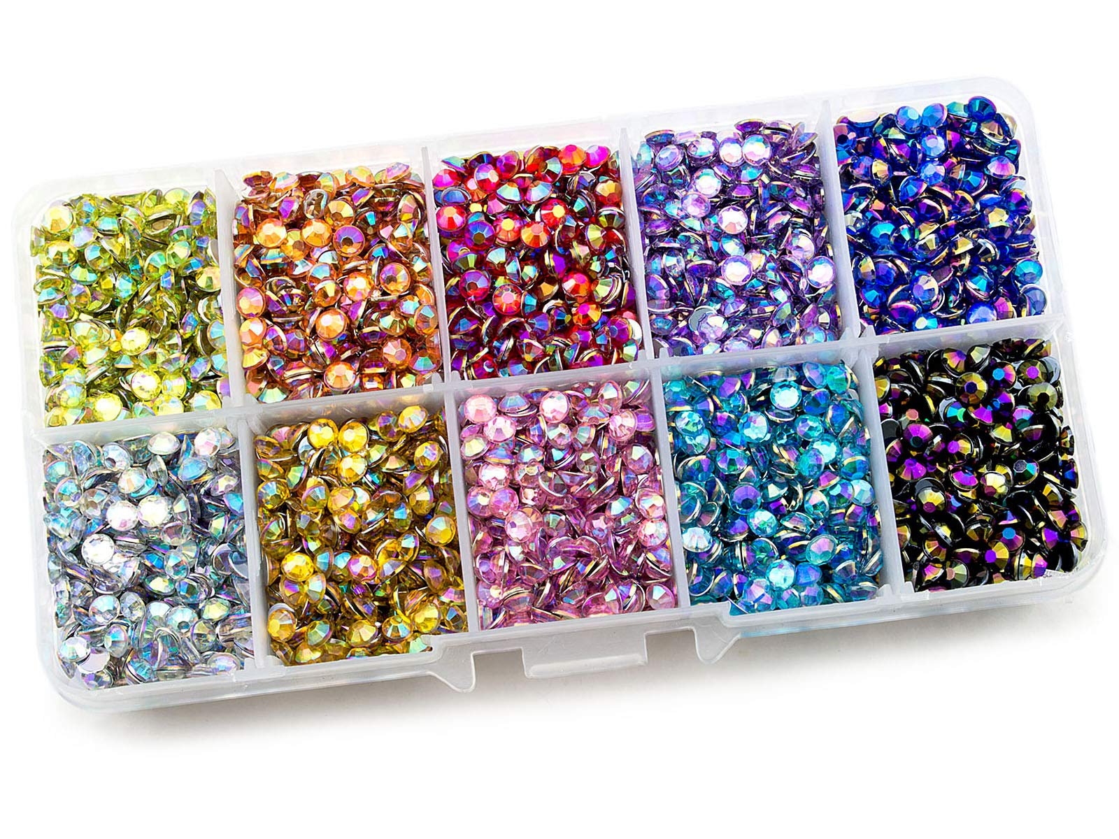 Summer-Ray 4mm Assorted Color AB Rhinestones in Storage Box Large Quantity Set by Summer-Ray.com