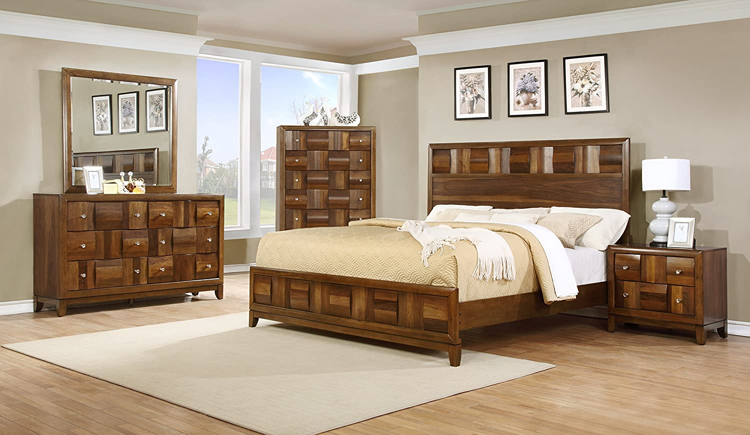 Amazon.com: Roundhill Furniture Calais Solid Wood Construction Bedroom Set  With Bed, Dresser, Mirror, Night Stand, Chest, Queen, Walnut: Kitchen U0026  Dining
