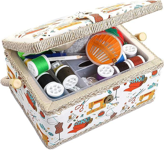 Sewing Basket Organizer Stoff Handwerk Thread Needle Vintage Sewing Basket N/ähen Boxen und K/örbe Sewing Kit Box Thread Needle Aufbewahrungsbox Organizer Flip-Typ