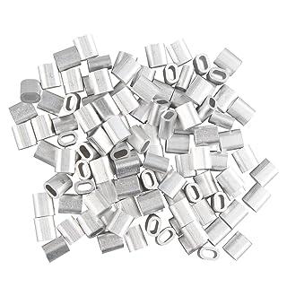 100 piezas clips de alambre de aluminio ovalado de 2,0 mm con forma de mangas para crimpar, tono plateado