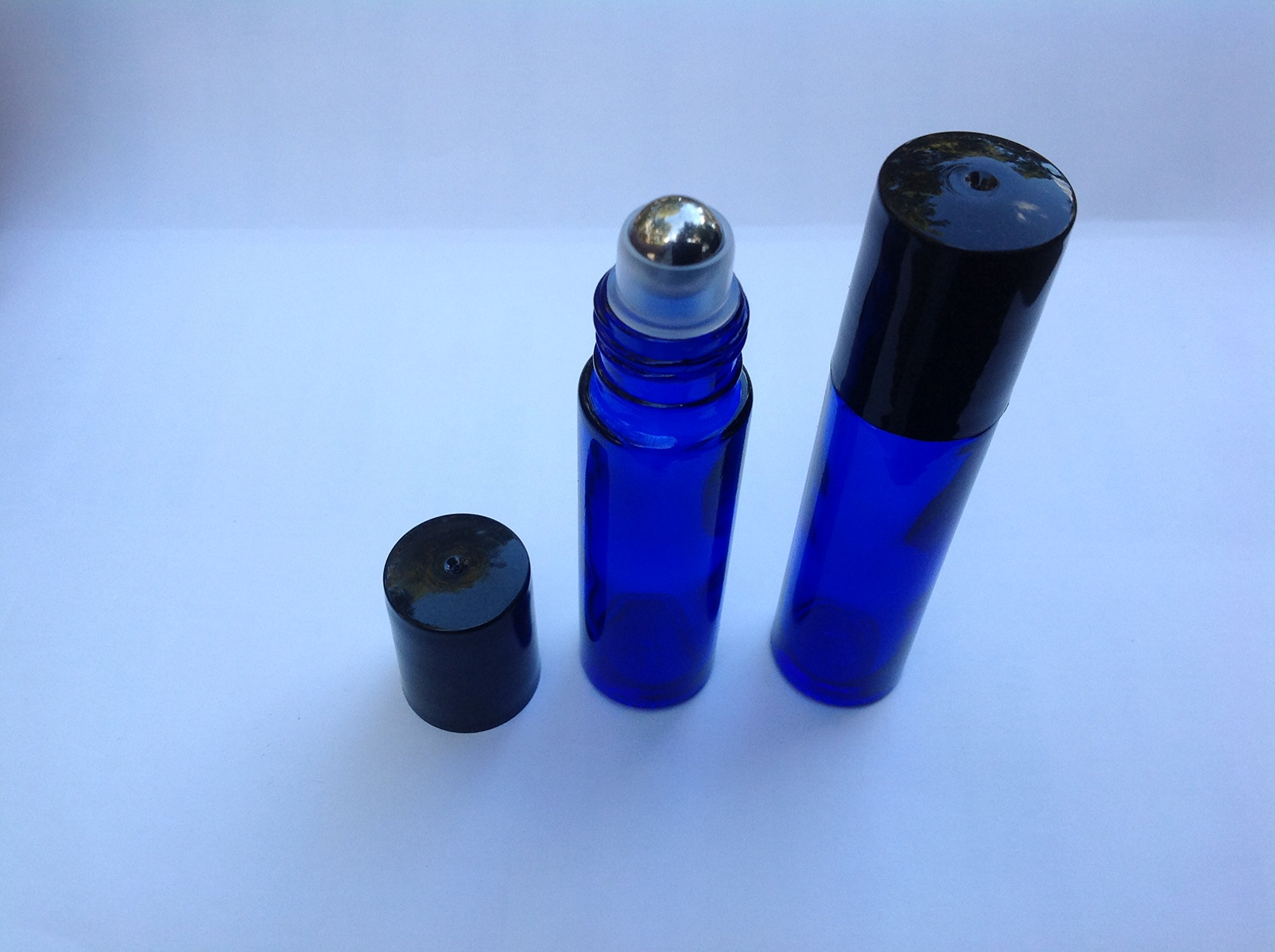 USA 144 - 10ml COBALT BLUE Glass Roll On THICK Bottles (144) with Stainless Steel Roller Balls - Refillable Aromatherapy Essential Oil Roll On (144)
