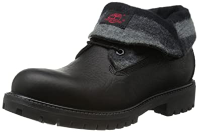 timberland roll top black boots