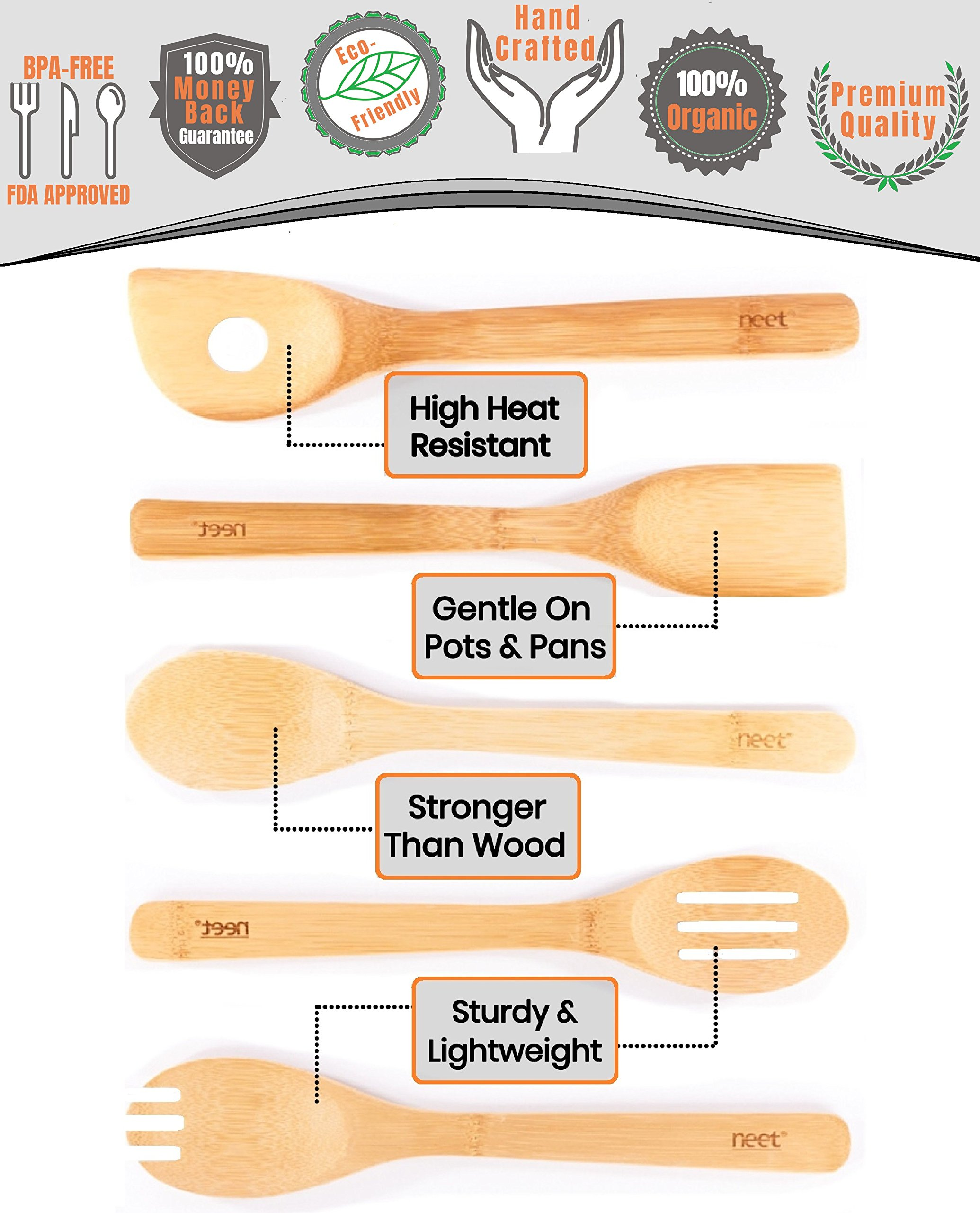 Organic Bamboo Cooking & Serving Utensil Set By Neet - 6 Piece Set | Spoon & Spatula Mix | Utensil Holder Organizer | Non Stick Wooden Kitchen Gadgets | Great Gift For Chefs & Foodies by Neet (Image #5)
