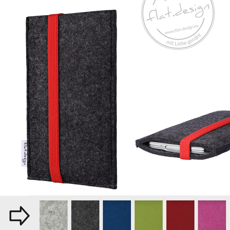 eBook Reader Schutzhülle COIMBRA mit rotem Gummiband aus Wollfilz (anthrazit) - Maßanfertigung der Tasche für alle eReader z.B. Kindle, tolino, Medion, Kobo, Sony, PocketBook, Bookkeen uvm.