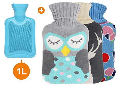 Buy 4 Packs One 1l Hot Water Bottle Bag With 3 Cute Knit Covers
