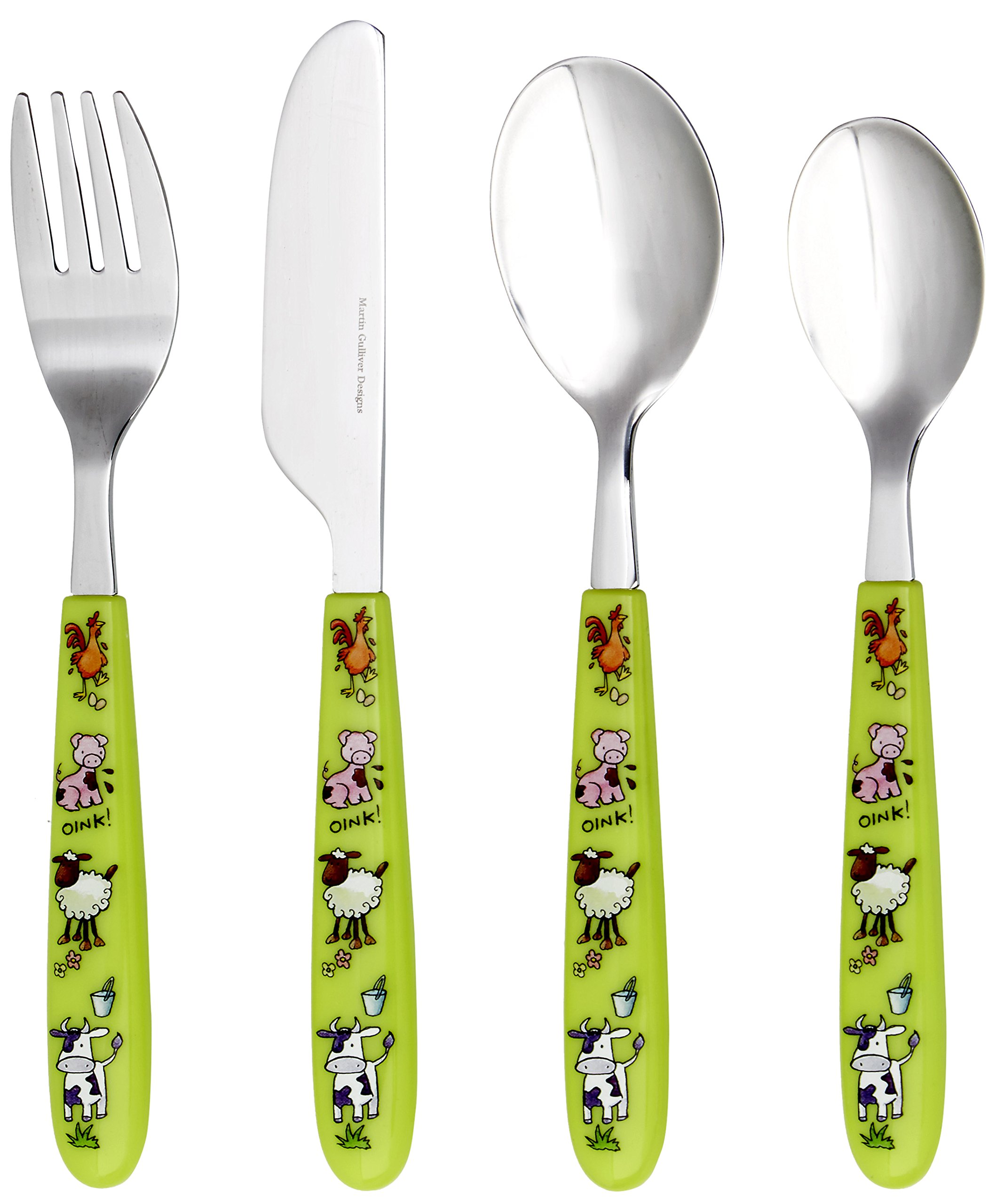 Martin Gulliver 4 Piece Children's Cutlery Set - FARM YARD ANIMALS