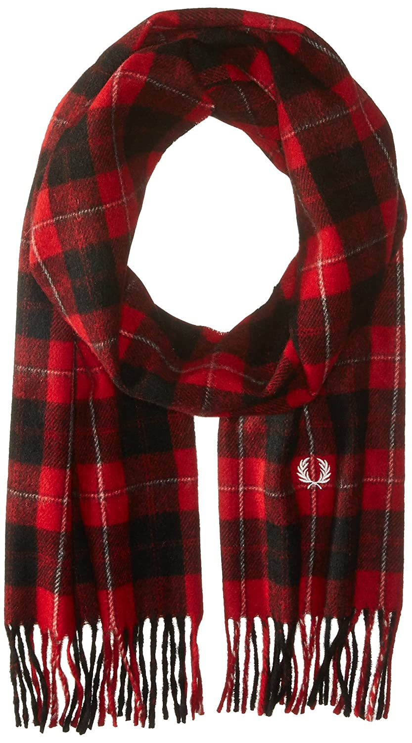 Fred Perry Men's Cunningham Tartan Scarf Red One Size C9117
