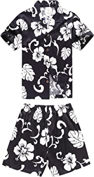 6b372671 Matching Father Son Hawaiian Luau Outfit Men Shirt Boy Shirt Shorts PW Navy  Hibiscus