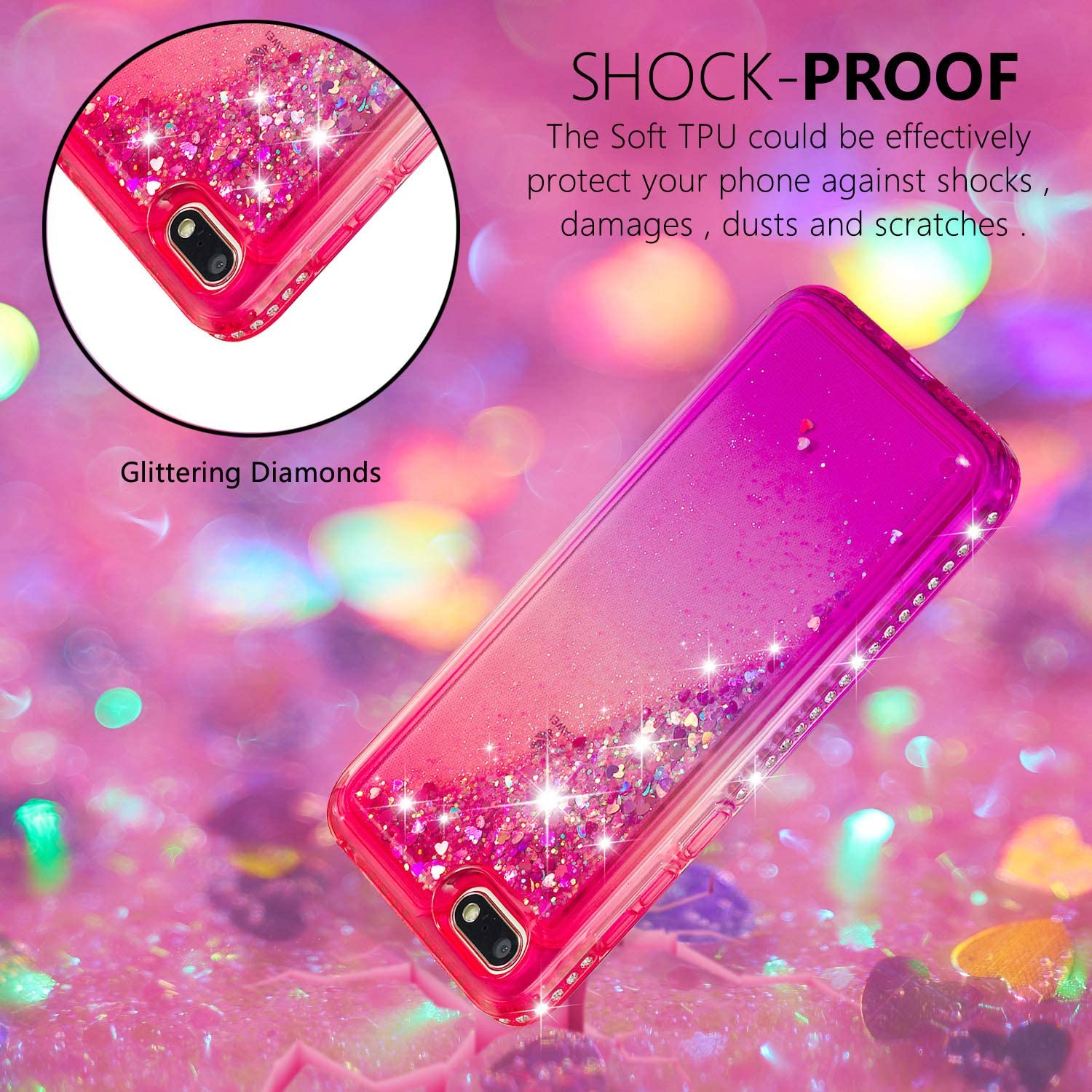 Lomogo Case for Huawei Y5 2018//Y5 Prime 2018 Glitter Silicone LOYBO490427#2 Shockproof Soft Rubber Bumper Case Non-Slip Back Cover Thin Fit for Huawei Y5 2018//Honor 7S