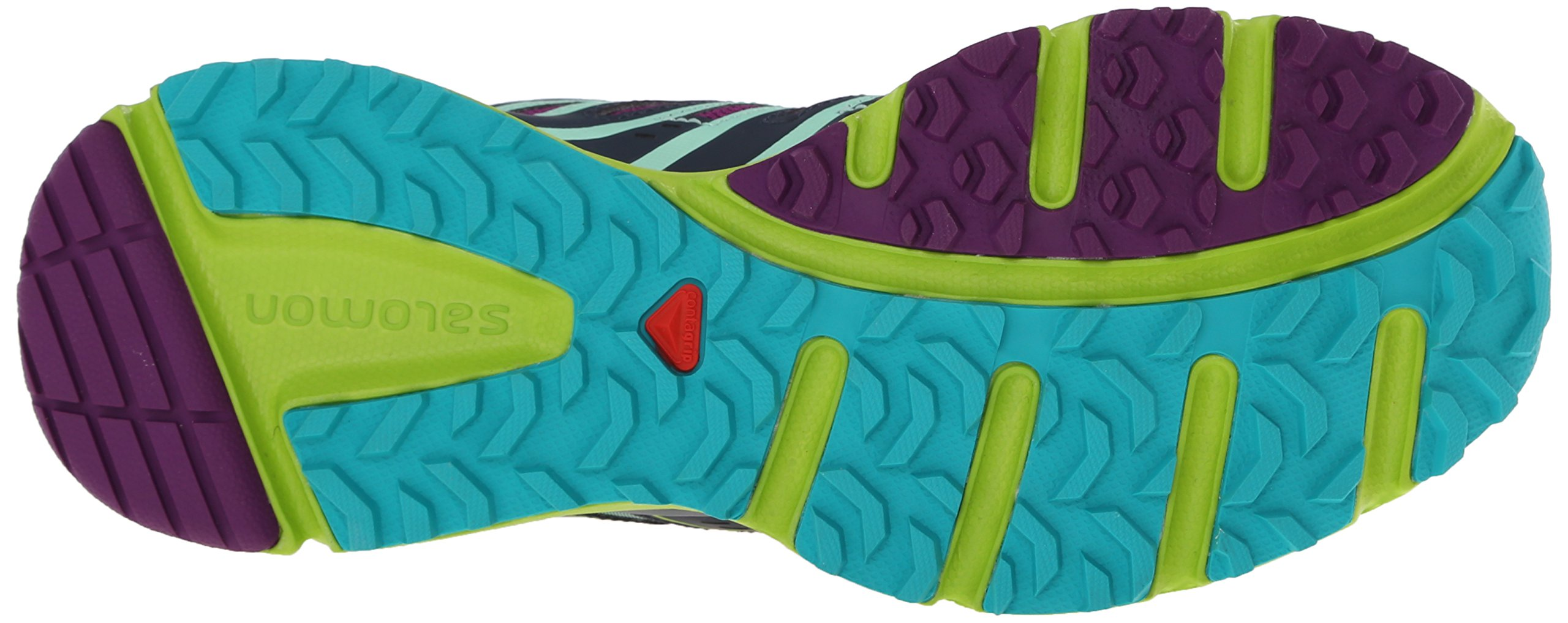 Salomon Women's X-Mission 3 W Trail Running Shoe, Teal Blue/Granny Green/Passion Purple, 7.5 B US by Salomon (Image #3)