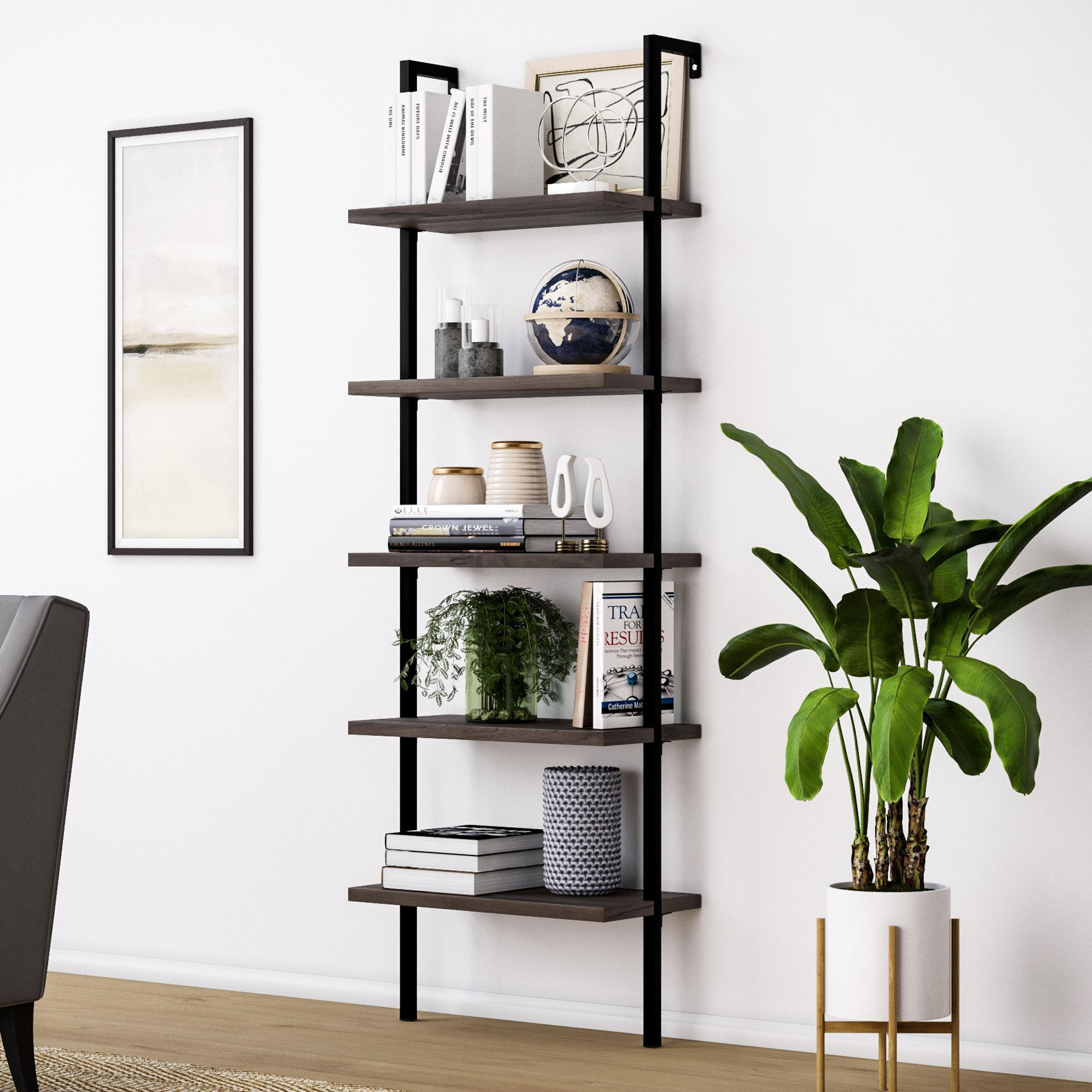 Nathan James 65501 Theo 5-Shelf Wood Ladder Bookcase with Metal Frame, Warm Walnut/Black