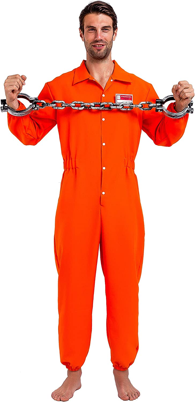 Brand New State Prisoner Convict Orange Inmate Men Adult Costume