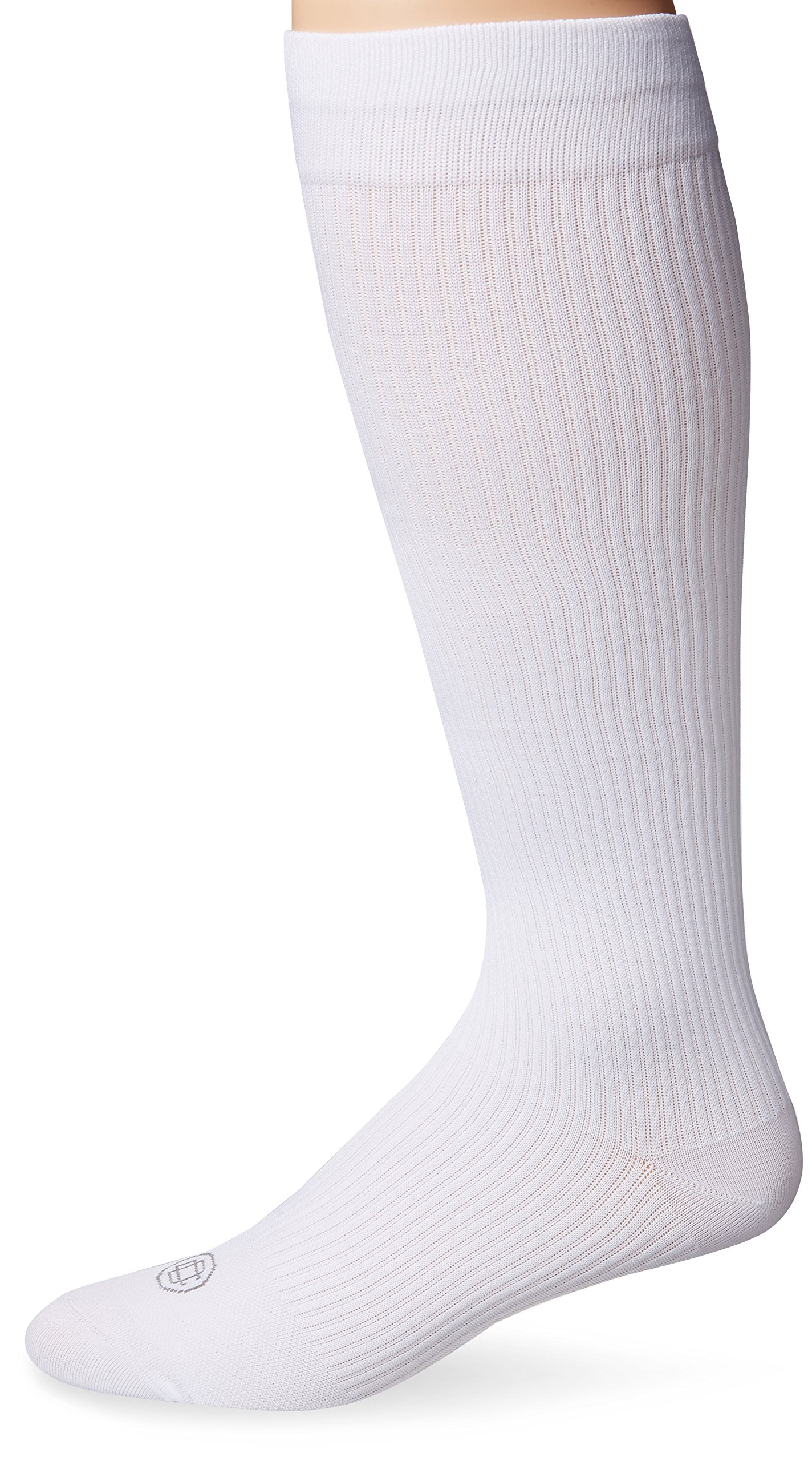 Doctor's Choice Men's Graduated Compression Over-the-Calf 2-Pack, White, Sock Size: 10-13/Shoe Size:6-12.5