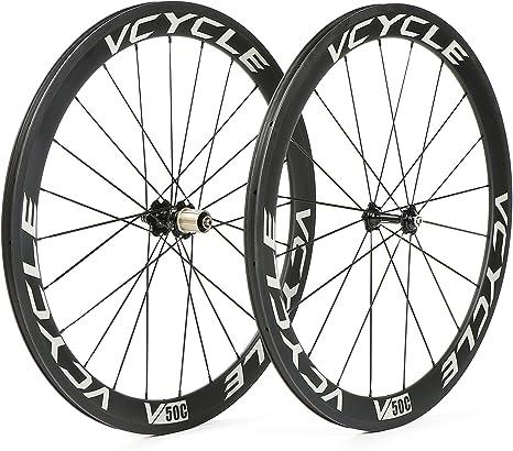 VCYCLE 700C Fibra de Carbono Carretera Bicicleta Ruedas 50mm ...