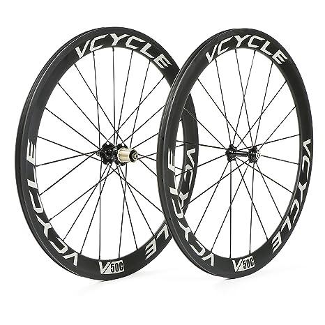 VCYCLE 700C Fibra de Carbono Carretera Bicicleta Ruedas 50mm Remachador 23mm Ancho 1700g Shimano o Sram 8/9/10/11 Velocidades