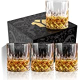 OPAYLY Crystal Whiskey Glasses Set of 4, Rocks Glasses, 10 oz Old Fashioned Tumblers for Drinking Scotch Bourbon Whisky Cockt