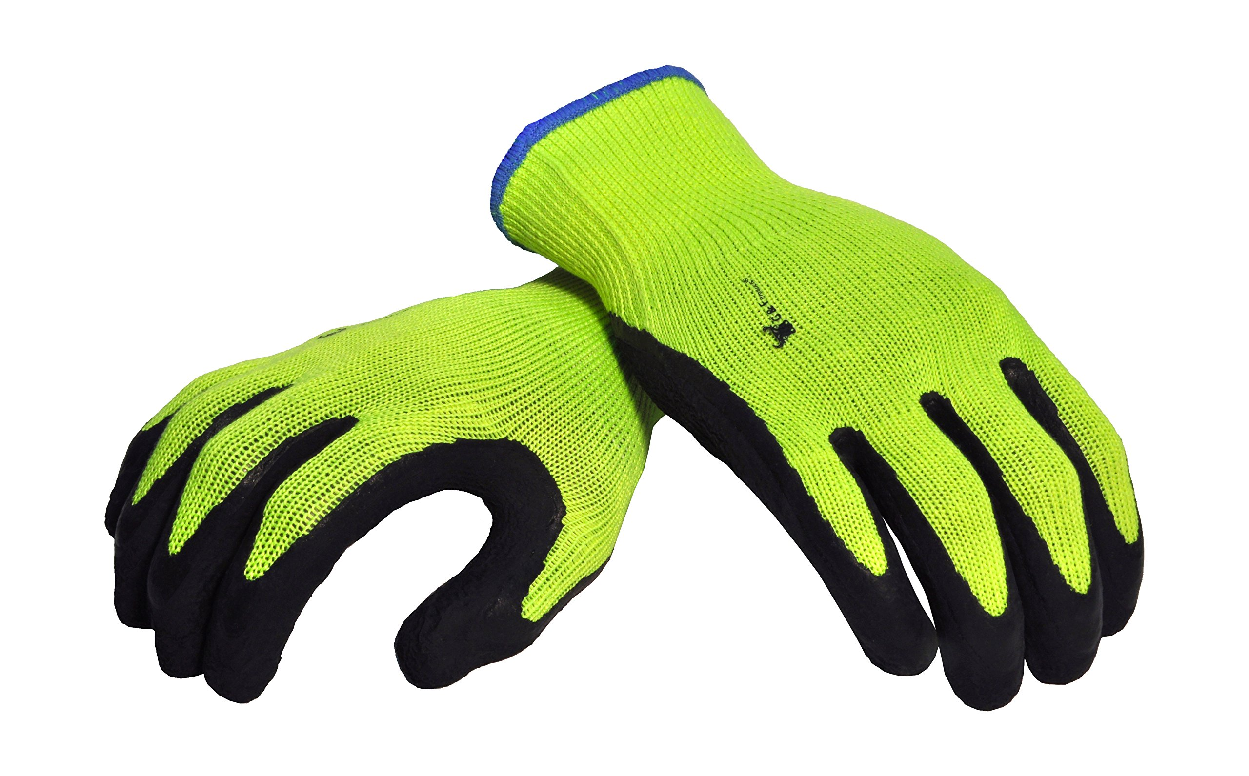 G & F 1516L-3 Premium High Visibility Work Gloves for General Purpose, MicroFoam Double Textured Latex Coated Work Gloves, Garden Gloves, Men and Women Work Gloves, Large, 3 Pair Pack