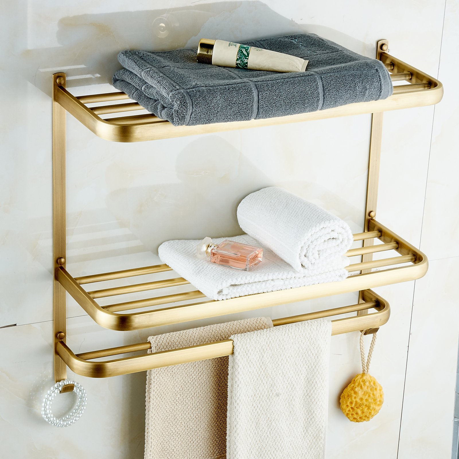 Rozin Dual Tiers Bathroom Towel Holder Shelf Wall Mounted Towel Rack Antique Brass Finish