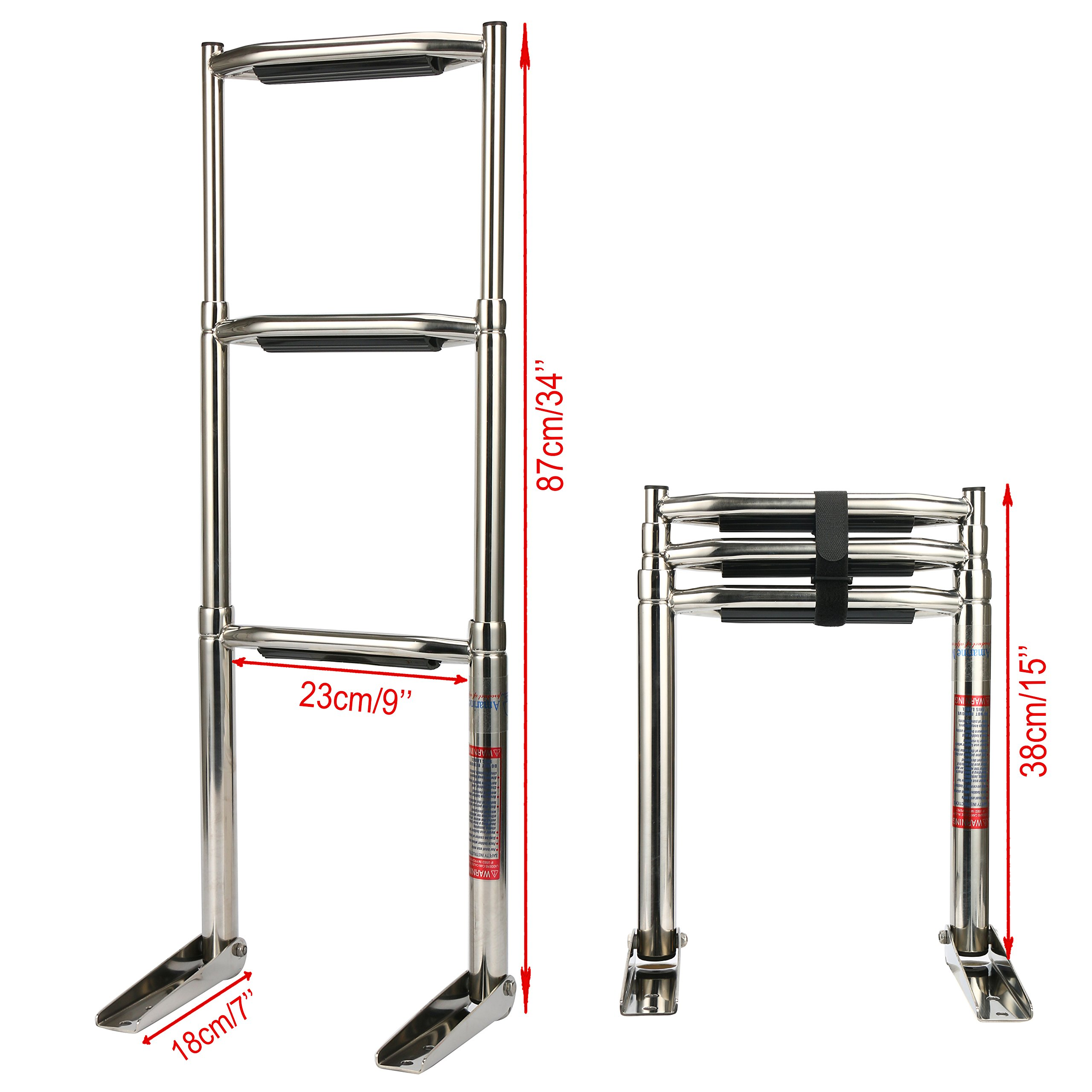 Amarine-made 3 Step Wide Steps Stainless Steel Telescoping Boat Ladder Swim Step