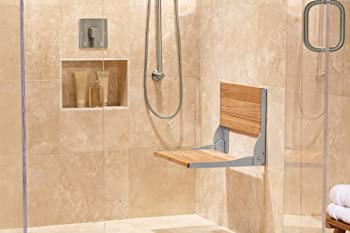Moen Home Care Wall Mounted Teak Wood Aluminum Folding Shower Seat