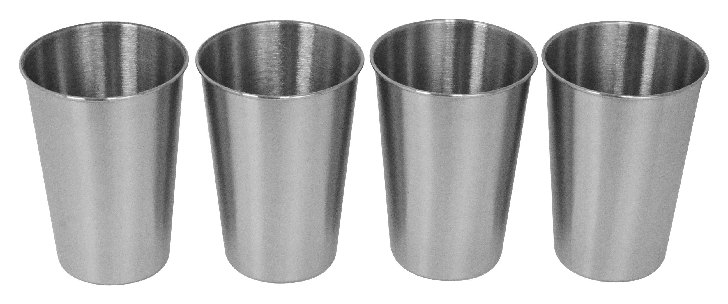 Southern Homewares SH-10145-S4 Stainless Steel Pint Glass 16oz Metal Cup Beer Soda Drink Tumbler Set of 4, Silver