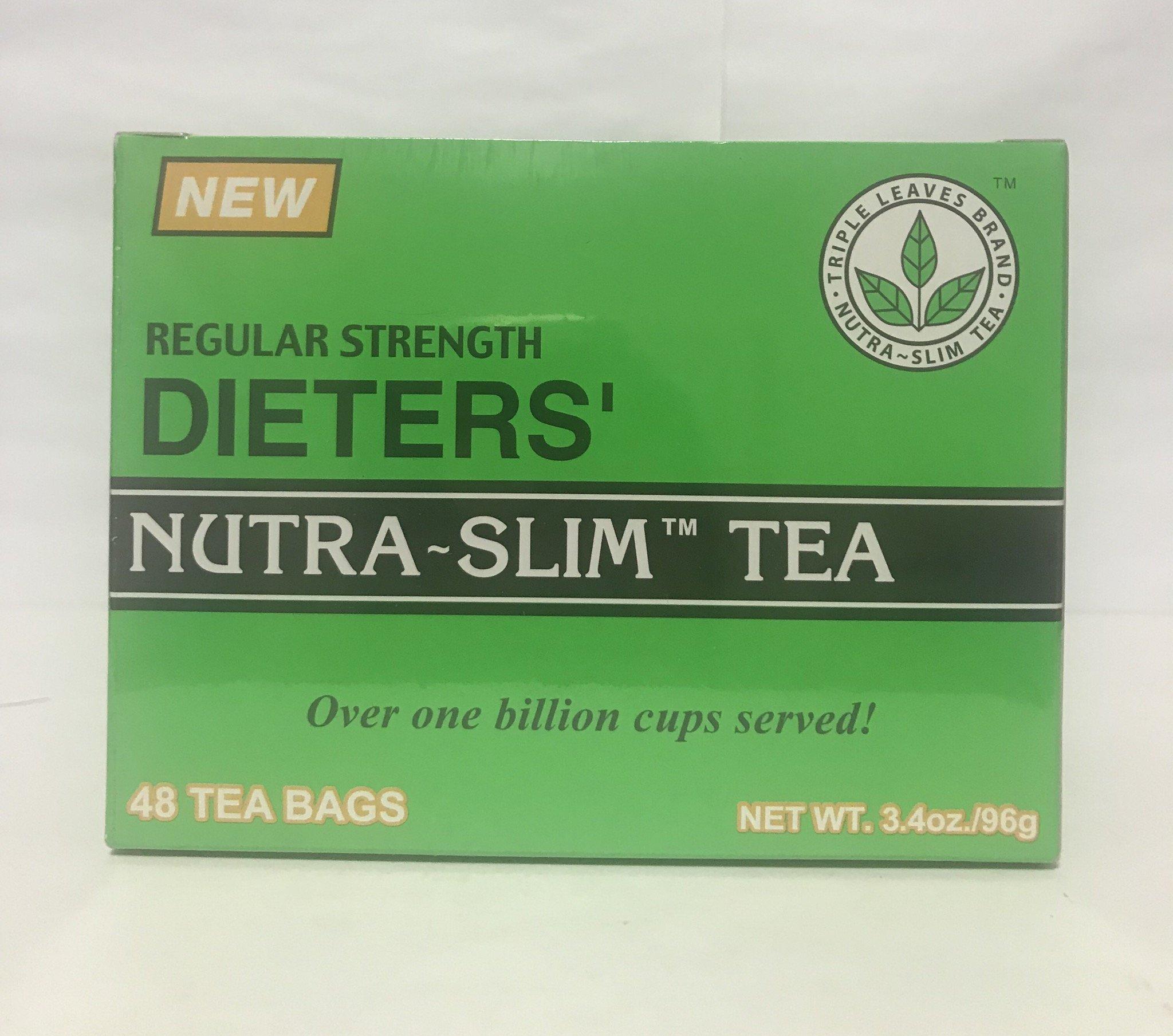 Regular Strength Dieters' Nutra-Slim Tea Triple Leaves Brand - 48 Tea Bags