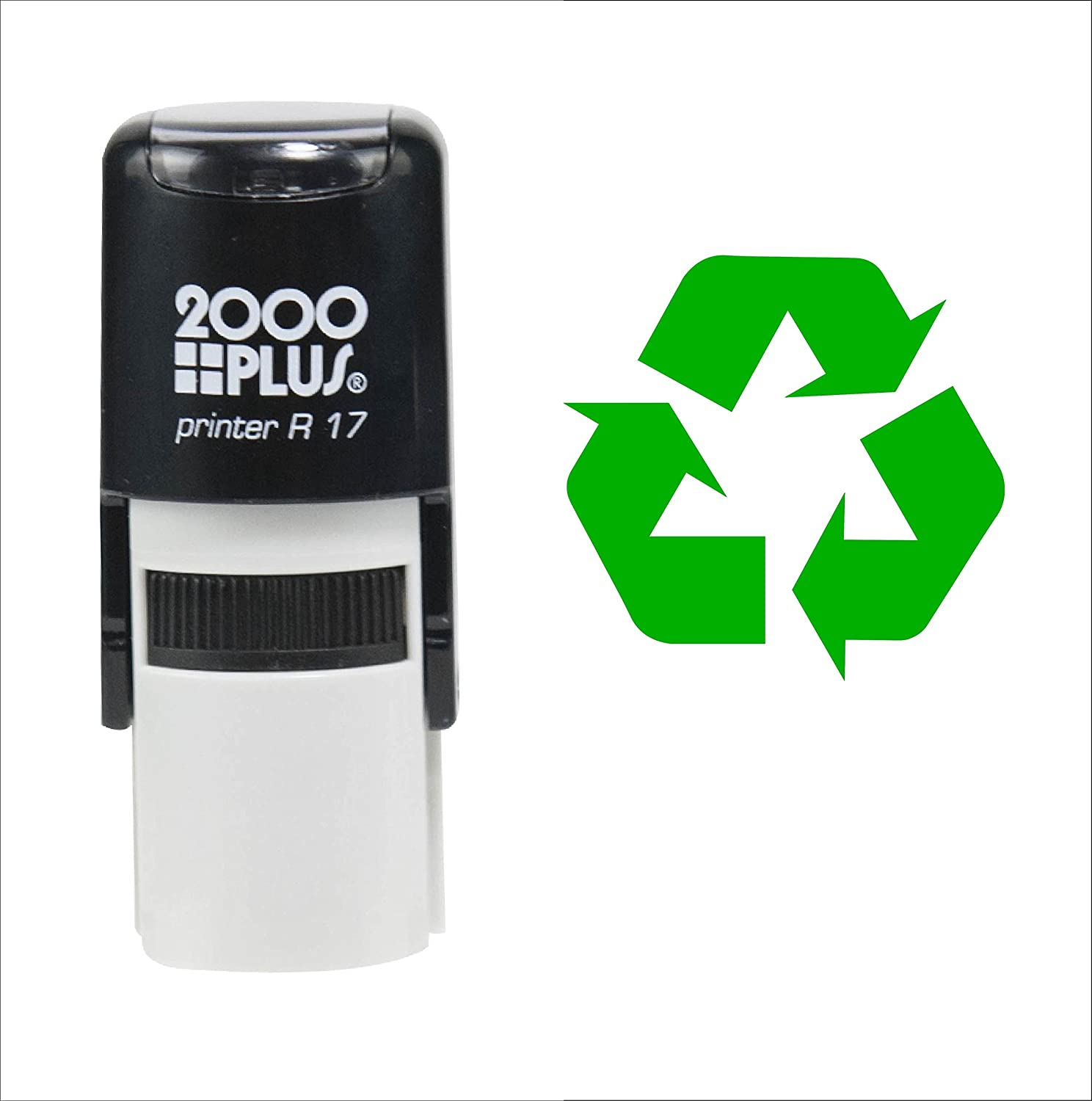 Custom Product Solutions Recycle Symbol 2000 Plus Self Inking Rubber Teacher Stamp – Green Ink
