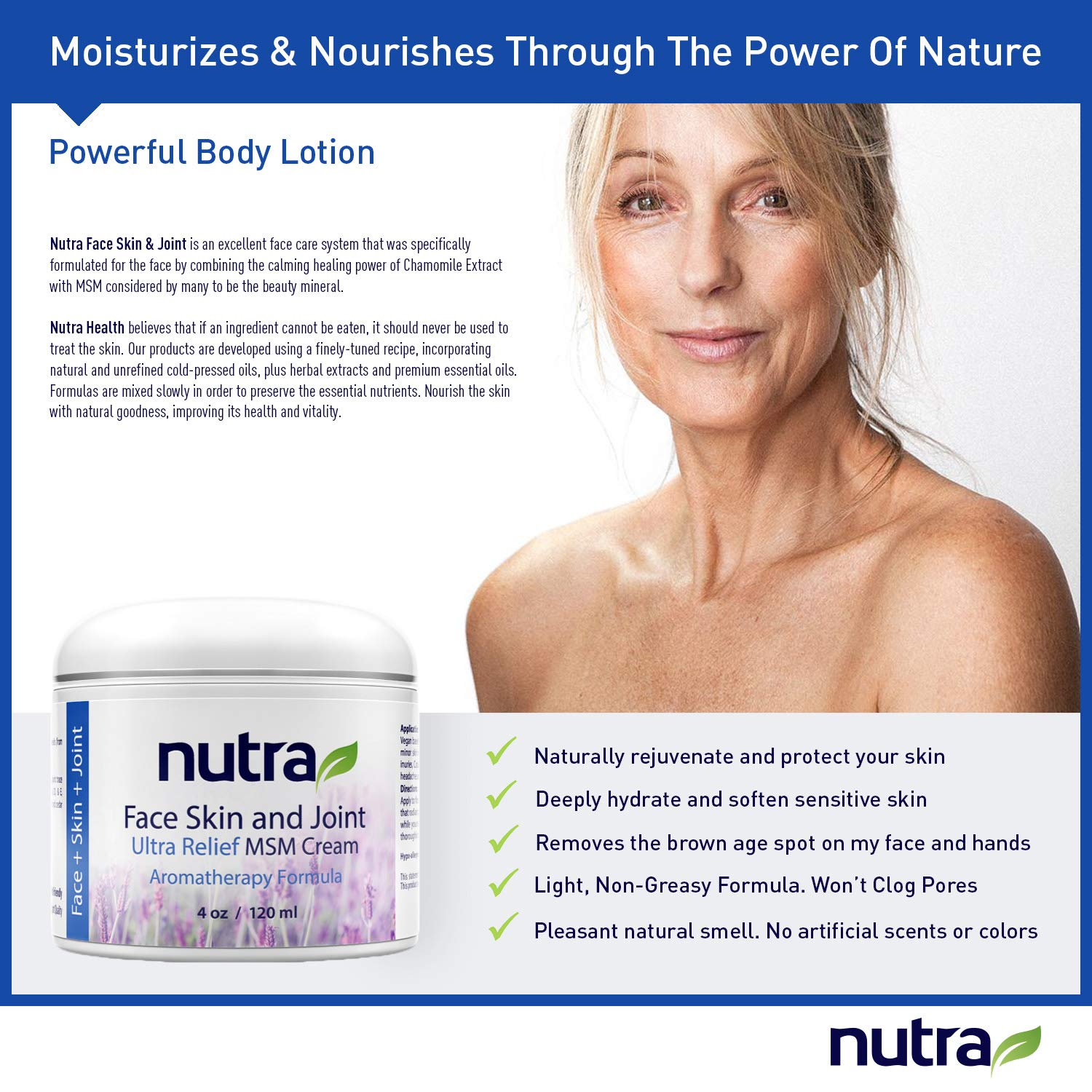 Nutra Face, Skin & Joint, Pain Relief MSM Cream - Organic - Vegan Non-GMO  Plant Base Clean Formula,