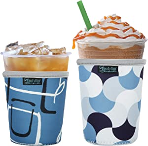 Beautyflier Reusable Iced Coffee Cup Insulator Sleeve for Cold Drinks Beverages and Hot Coffee Neoprene Cup Holder for Starbucks Coffee, McDonalds, Dunkin Donuts, More (Geometry)