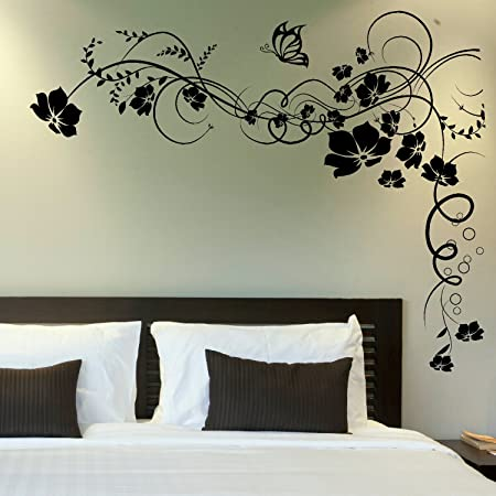 LaoGraphics® Corner Butterfly Vine Floral Flower & Butterflies Homely  Nature Wall Stickers, Home Vinyl Art Transfers, Interior Decal Graphics, ...