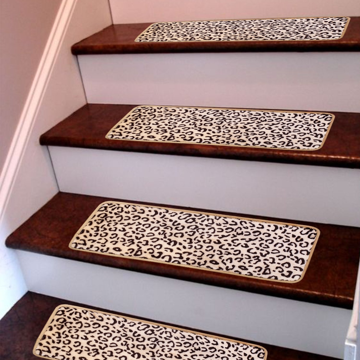 Removable Washable Step Floor Rugs for Stairs Seloom Stair Treads Carpet Non-Slip with Skid Resistant Rubber Backing Specialized for Indoor Wood Steps Pure Brown, Set of 13