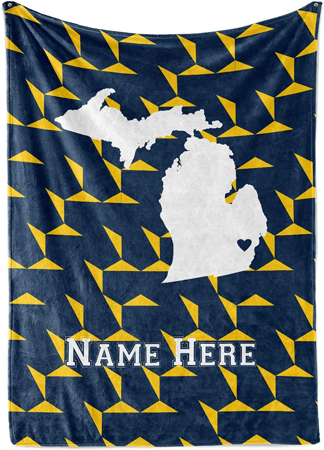 State Pride Series Michigan - Personalized Custom Fleece Throw Blankets with Your Family Name - Ann Arbor Edition