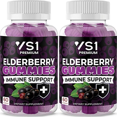 2-Pack Organic Elderberry Gummies by VS1 for Adults Kids with Vitamin C, Zinc, Propolis – Sambucus Black Elderberry Gummy Extract – Gluten Free Vegetarian – 120 Gummies