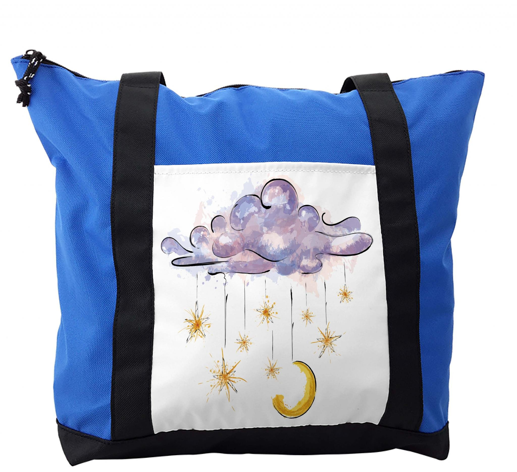Lunarable Astrology Shoulder Bag, Hanging Moon and Stars, Durable with Zipper
