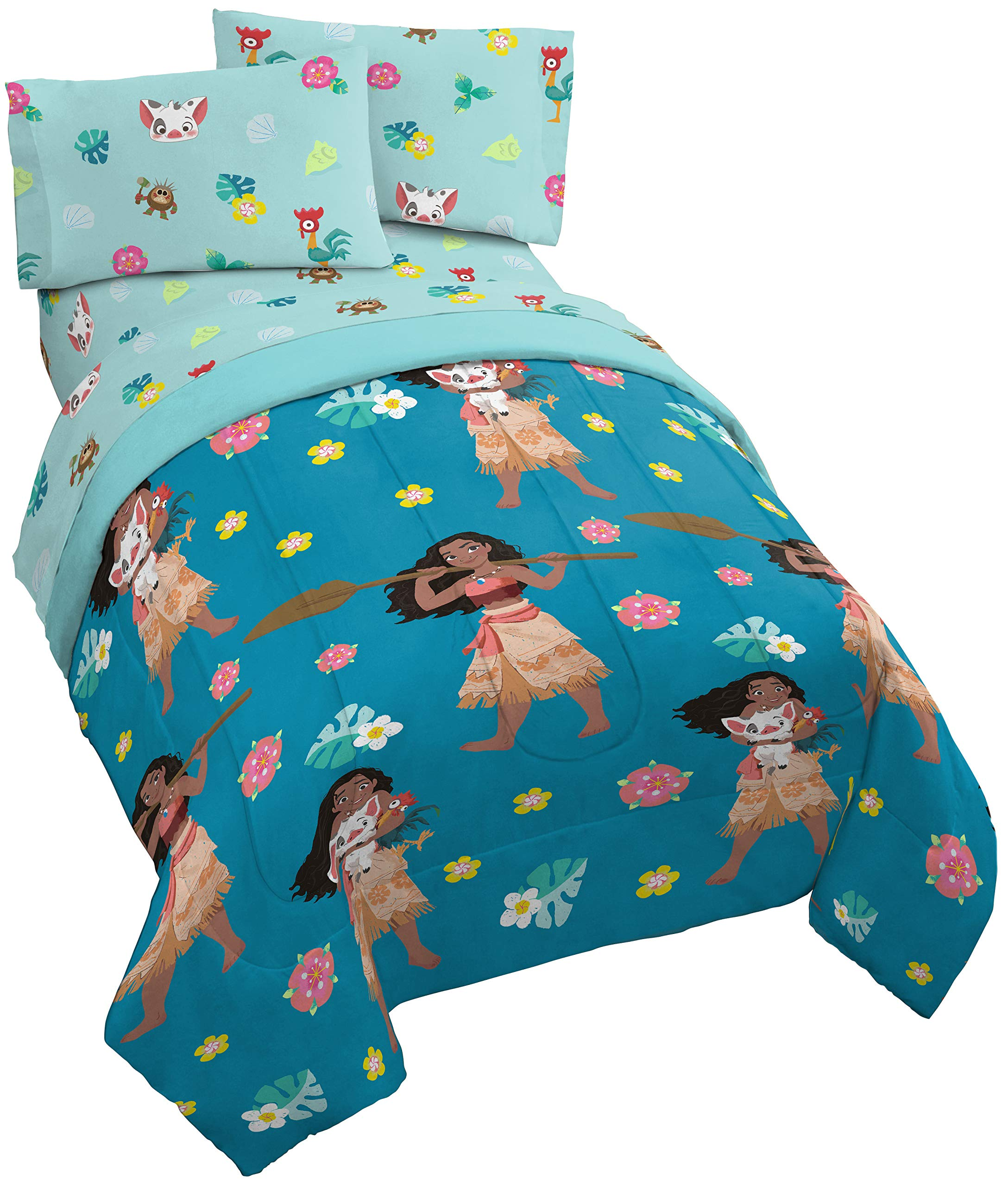 Jay Franco Disney Moana Flower Power 4 Piece Twin Bed Set - Includes Reversible Comforter & Sheet Set - Super Soft Fade Resistant Polyester - (Official Disney Product) by Jay Franco (Image #1)