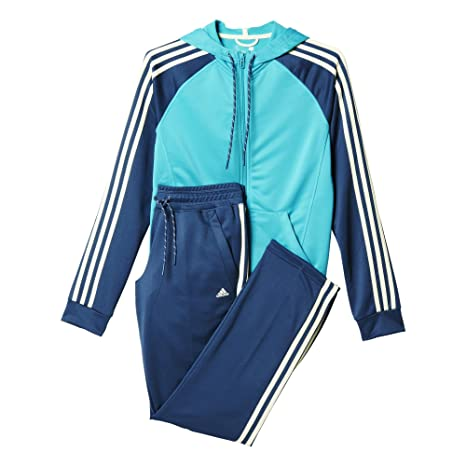 3c32c381bc311 adidas Damen Trainingsanzug New Young Knit Blau/Türkis/Weiß XL/S ...