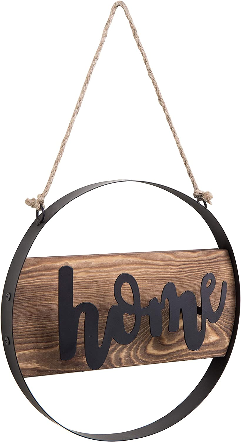 MyGift Hanging Decorative Home Round Wood & Black Metal Sign with Twisted Jute Rope