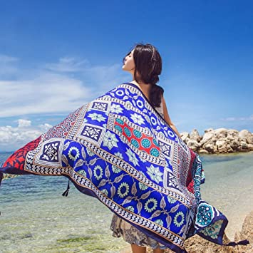 52ac89aca0 Image Unavailable. Image not available for. Color: SUNBABY Women Boho Shawl  Beach Towels Rectangle Polyester Scarf Travel Sarong Wrap Swimwear Cover ...