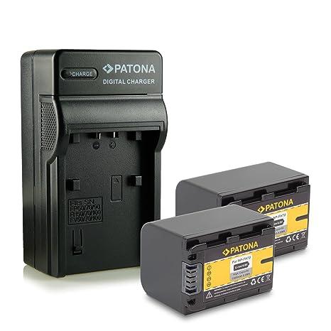 M&L Mobiles® | Novedad - Cargador + 2x Batería como NP-FH70 NPFH70 con Infochip · 100% compatible con Sony HDR-UX7E | UX9E | UX19E | XR105E | XR106E