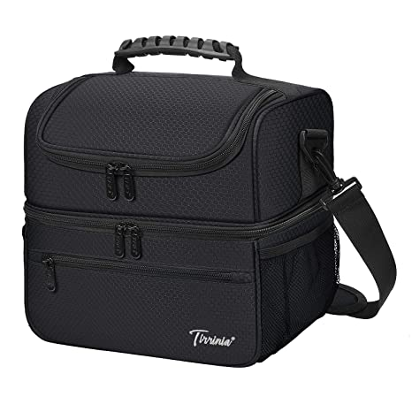 870df5d6bb6c Extra Large Lunch Bag - 13L/ 22 Can, Insulated & Leakproof Adult Reusable  Meal Prep Bento Box Cooler Tote for Men & Women with Dual Compartment, Black