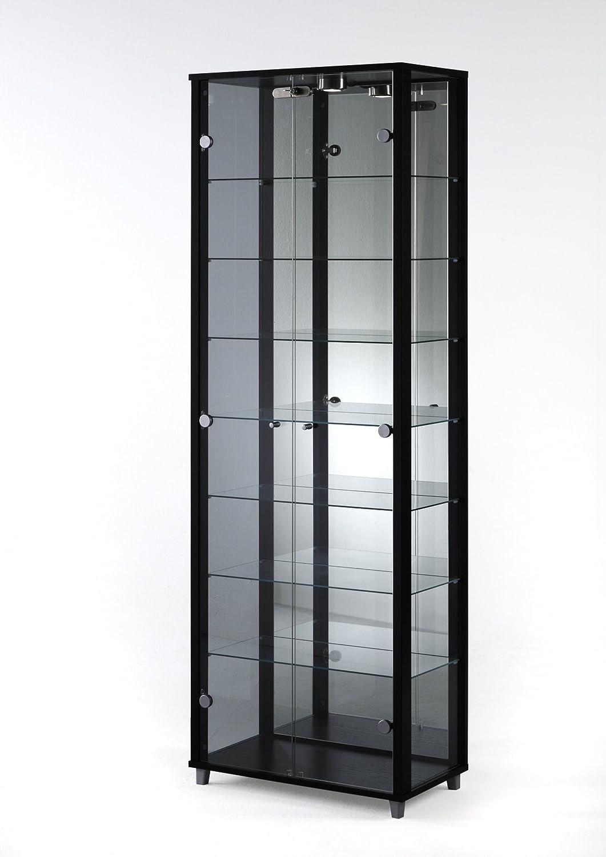 Double Door Glass Display Cabinet Mirror Back 4 Shelves Light