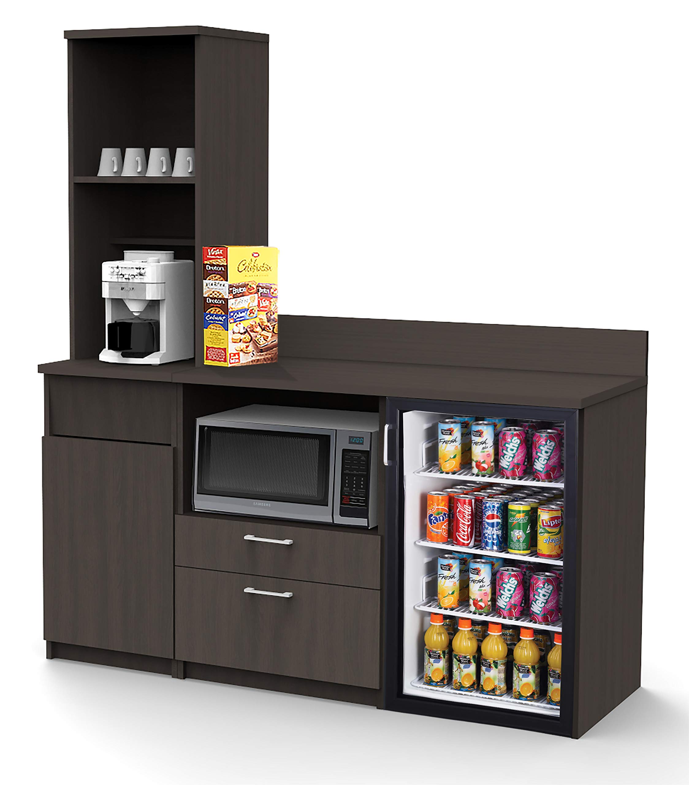 Coffee Kitchen Lunch Break Room Space Saver Cabinets Model 4508 BREAKTIME 3 Piece Group Color Espresso - Factory Assembled (NOT RTA) Furniture Items ONLY. by Breaktime