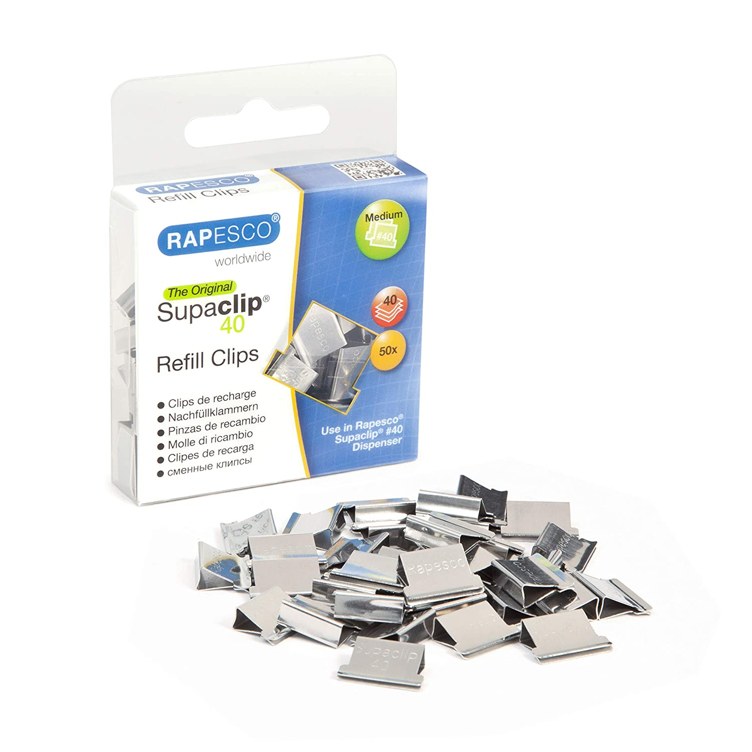 Stainless Steel Pack of 50 Rapesco Supaclip RC4050SS Refill Clips