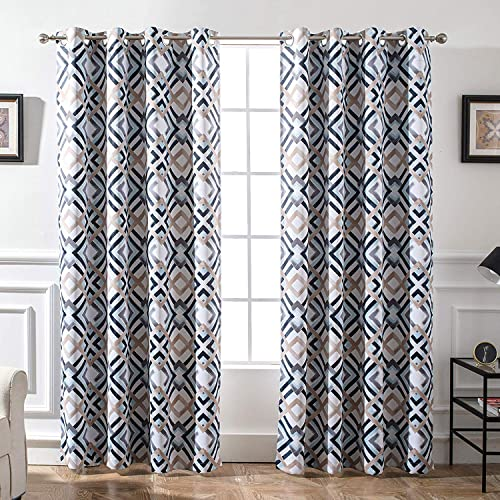 DriftAway Diamond Trellis Watercolor Geometric Checker Plaid Pattern Blackout Room Darkening Unlined Thermal Insulated Grommet Window Curtains Set 2 Panels 52 Inch by 96 Inch Header Navy