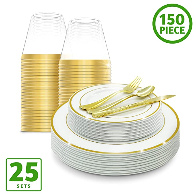 EcoEarth Gold Plastic Plates with Silverware & Disposable Cups Set (150 Piece Set), Plastic Dinnerware Set Includes 25 Dinner Plates, 25 Salad Plates, 25 Forks, 25 Knives, 25 Spoons, 25 Plastic Cups