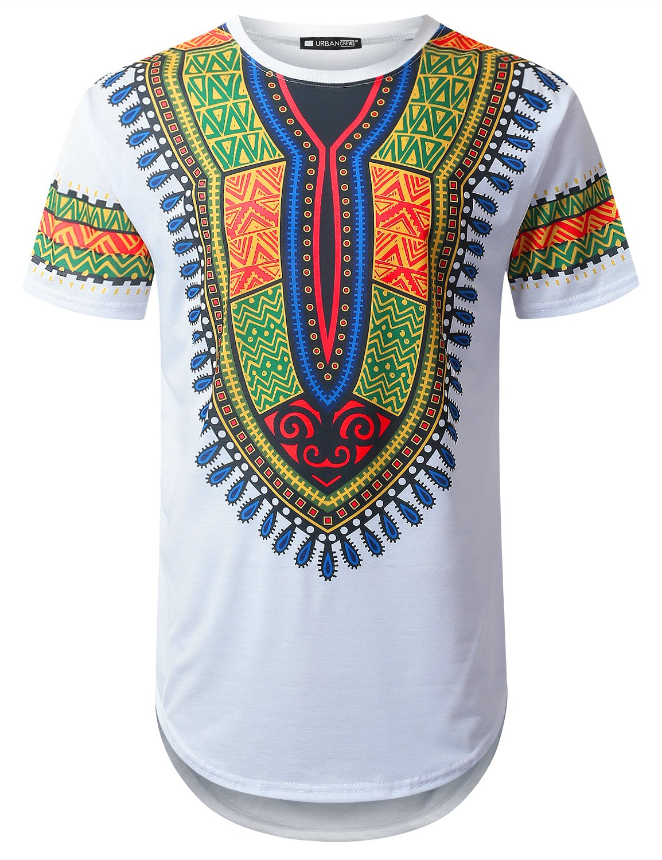 URBANTOPS Mens Hipster Hip Hop African Dashiki Longline T-Shirt White, XXL